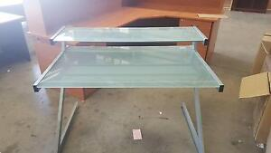 GLASS DESK WITH RAISED SHELF - office work furniture student Murarrie Brisbane South East Preview