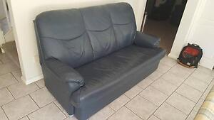 Leather 3 seater lounge and recliner Menai Sutherland Area Preview