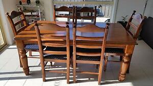 six seat dining table, wooden table and chairs with fabric Lara Outer Geelong Preview