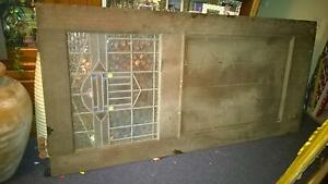 Wooden door with stained glass,panel The Entrance Wyong Area Preview