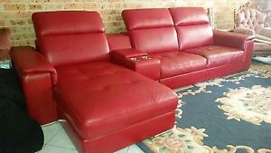 Red Leather Lounge with Chaise Edensor Park Fairfield Area Preview