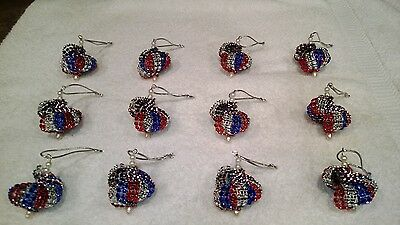 Blue And Silver Christmas Ornaments (12 HANDMADE CHRISTMAS ORNAMENTS MADE WITH BLING RED SILVER AND)