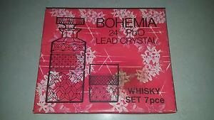 BOHEMIA LEAD CRYSTAL WHISKY SET FLOWER PATTERN DECANTER/6 GLASSES Kallangur Pine Rivers Area Preview