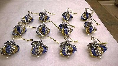 Blue And Silver Christmas Ornaments (12 HANDMADE CHRISTMAS ORNAMENTS MADE WITH BLING ROYAL BLUE, GOLD AND)