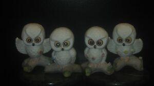 VTG-4-SMALL-CERAMIC-WHITE-HAND-PAINTED-RETRO-OWL-FIGURINES-W-FLOWER
