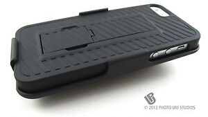 BLACK-REAR-HARD-CASE-COVER-BELT-CLIP-HOLSTER-FOR-APPLE-IPHONE-5-6TH-GEN-PHONE