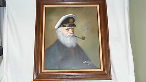 Vintage 1950s 60s David Pelbam Sea Captain Ahab Framed Oil