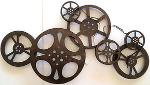 Large Home Cinema Theatre Movie Reels Wall Art Plaque Media TV Game Room