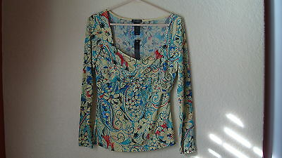 Bisou Bisou Yellow W/flowers 3/4 Sleeve Ruched Top-m