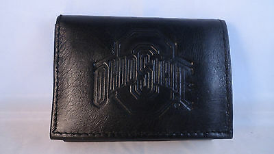 Ohio State Black Tri Fold Leather Wallet