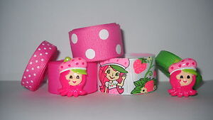 GROSGRAIN STRAWBERRY SHORTCAKE RIBBON LOT PLUS FLAT BACK RESINS 2B-qP