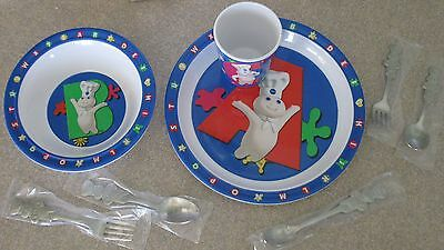 Rare Pillsbury Dish Set With Matching Silverware Set 8 Piece Lot