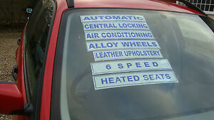 car sales selfcling  window screen stickers displays and slogans pack of 20