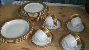 COMPLETE 4 PIECE DINNER SET GOLD WHITE ORNATE WINDSOR GOLD SEASON COLLECTION