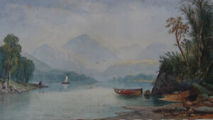 ANTIQUE-19C-ORIGINAL-WATERCOLOR-PAINTING-LAKE-AND-MOUNTAINS-SIGNED-C-F-P