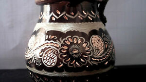 Handmade-Copper-Turkish-Coffee-Pot-Cezve-Silver-Engraved-Wonderful-Xmas-gift