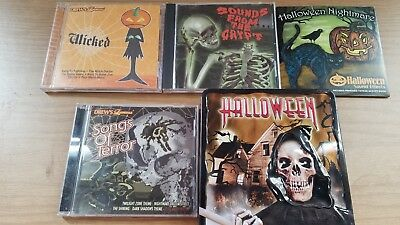 Lot Of 5 Halloween Songs Sounds Effects CD's Bonus DVD Night of the Living Dead