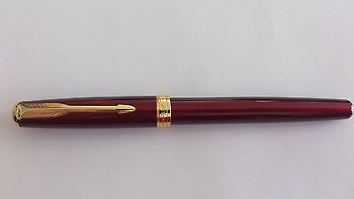 New Maroon Red Sonnet Rollerball Parker Pen 18k Plated Gold Free Refill Gift USA