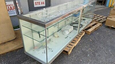 Store Display Case 10 Ft Long 2 Feet Deep. Stainless Steel Corner Trims