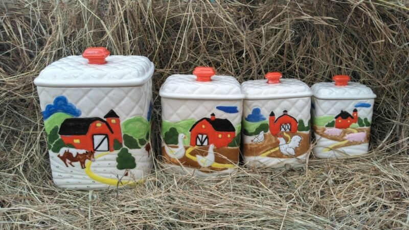 OTAGIRI 1980s Quilted Country Farm Scene 4 Canister Set Cow Chickens Geese Pigs