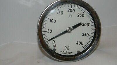 Vintage 5 X 2 Thick Duragauge Usa Pressure Test Gauge 400 Psi Steampunk
