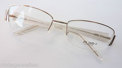 Brillengestelle Metallfassung silber-weiß dezente Brille Damenbrille Grösse M
