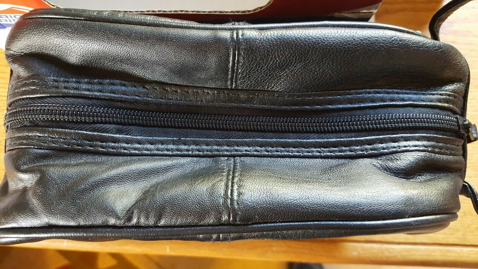 American Tourister Leather Toiletry Bag Black Cosmetic/Shaving Soft Travel Case - $10.24