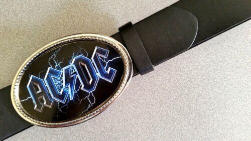 "AC/DC ""BLACK ICE"" Rock  Epoxy PHOTO MUSIC BELT BUCKLE & Black Bonded Leather Bel"
