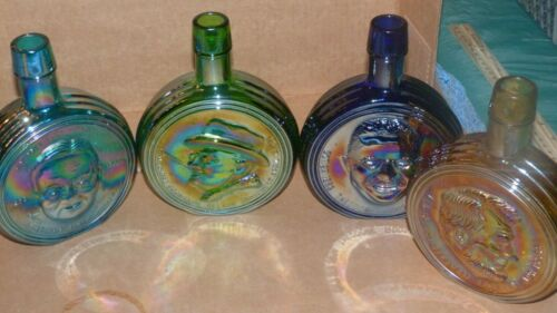 """Lot Of 4, Wheaton Glass 8"""" Decanter Bottles - Presidential Series, from 70"""