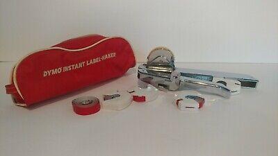 Vintage Dymo Tapewriter M5 Instant Label Maker Storage Bag With 5 Label Rolls