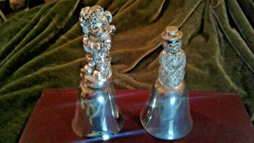 VINTAGE DETAILED SNOWMAN & BEAR  SILVER PLATED CHRISTMAS BELLS
