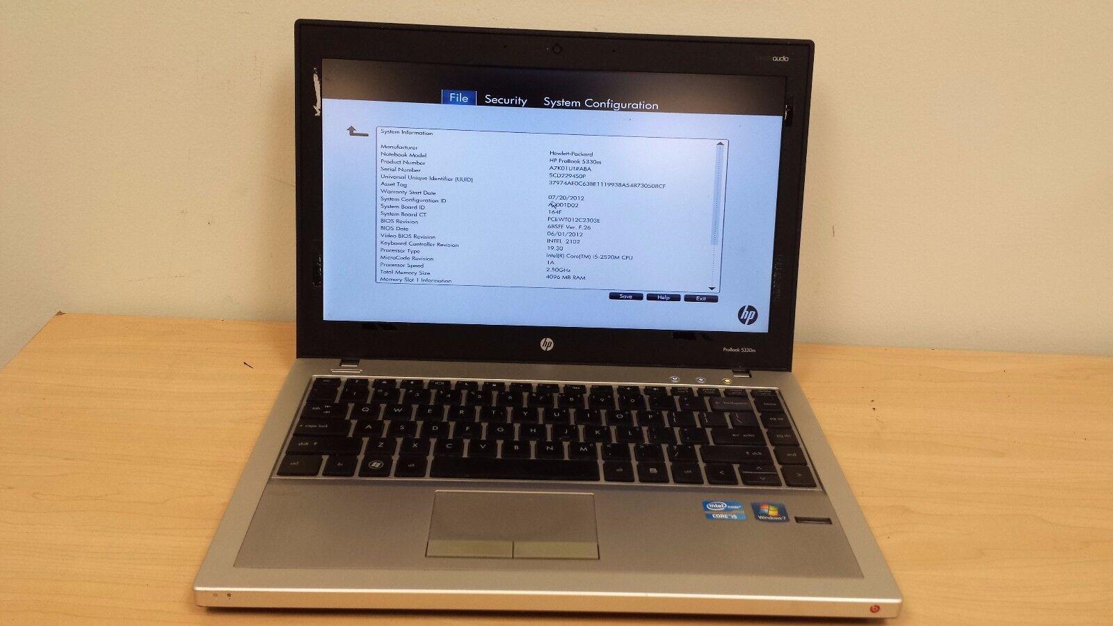"HP ProBook 5330M 14"" Core i5-2520M 2.50GHz  4GB RAM No HDD  NO OS  - WW"