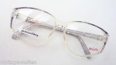 Oversized Vintage Brillen Gestell Nigura Damen grau klar schimmernd Grösse L
