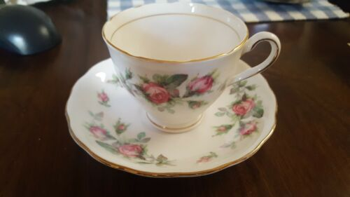 Colclough China made in England Pink rose Flower Floral Teacup saucer set (8)
