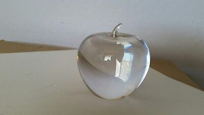 Tiffany   Co  Signed Crystal Glass Apple Paperweight