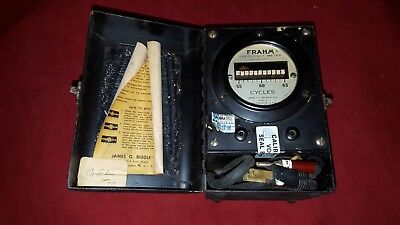 Frahm Resonant Reed Frequency Meter Miniature Portable Type -8294