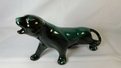 Blue Mountain Pottery Panther Green Black BMP Excellent Condition