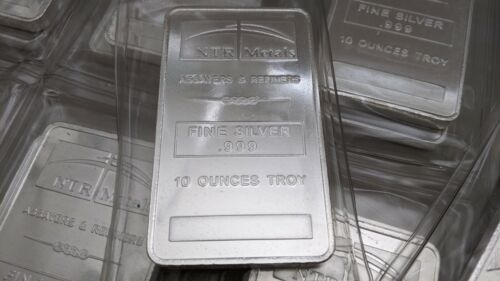 """SEALED"" 10oz Ounces Troy Fine Silver .999 NTR Metals Bar"