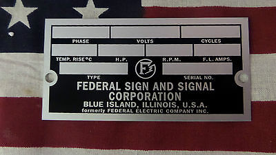 Federal Sign And Signal Air Raid Civil Defense Siren Rectangular Id Plate