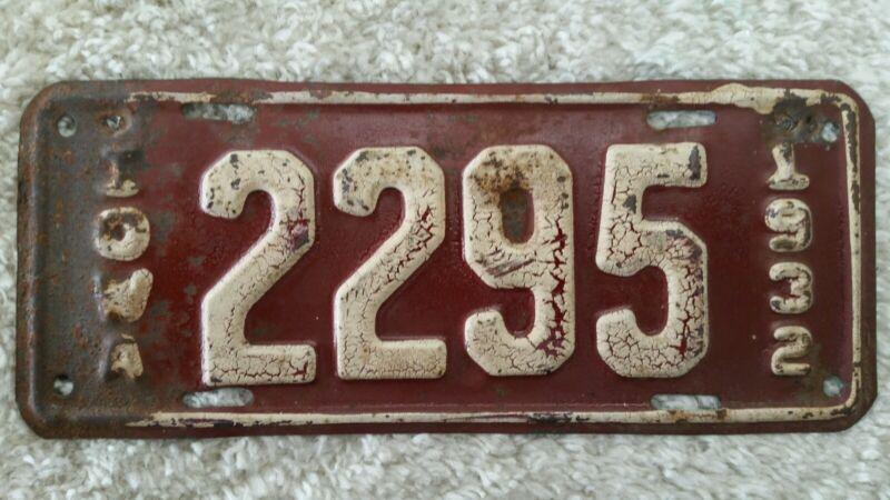 1932 Iowa Motorcycle License Plate, IA. MC