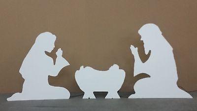Outdoor Nativity Scene Yard Art Christmas White Silhouette Manger Holy Family](Manger Silhouette)