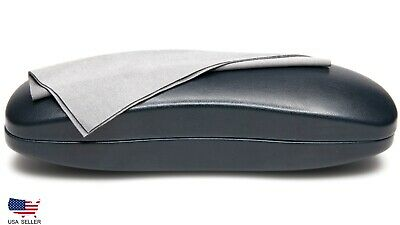 - NEW Large Long Hard Eyeglasses Glasses Case Very Dark Blue w/ Cleaning Cloth C27