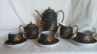 Vintage SATSUMA Black Matte TEA SET Handpainted PORCELAIN Black & Gold JAPANESE
