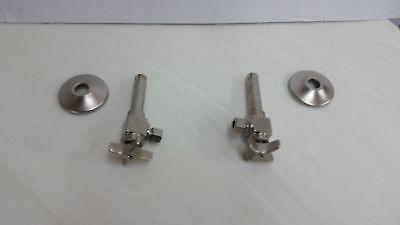 """Kohler K-7605-P-BN 3/8"""" Angle Supply Pair w/ Stop Cross Handle Brushed Nickel"""