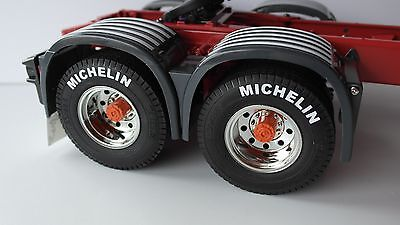 5x Weiße Reifen Michelin Aufkleber für Modell Trucks von TAMIYA in 1:14,5