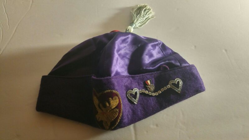 Moose Lodge Ceremonial Hat/Cap With Rhinestone Linked Hearts