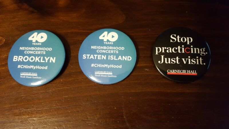 3 Carnegie Hall New York City Concert Stage Advertising Buttons Pins - NEW
