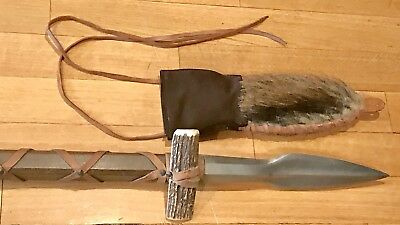 Vintage Early Edition Puma Germany Saufeder Spear Dagger Knife W/Leather Sheath