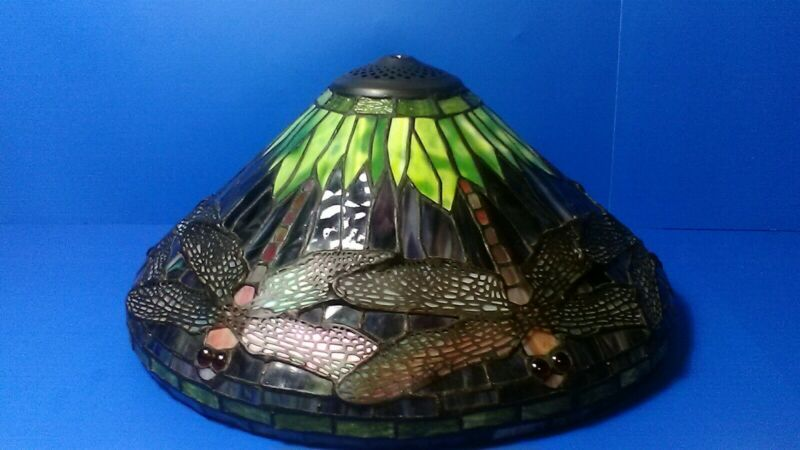 """TIFFANY STYLE STAINED GLASS DRAGONFLY LAMP SHADE 16"""""""