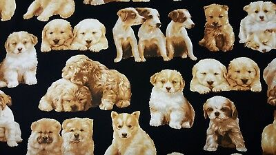 Kaufman Whiskers and Tails Puppies Dogs Black 100% cotton fabric by the yard
